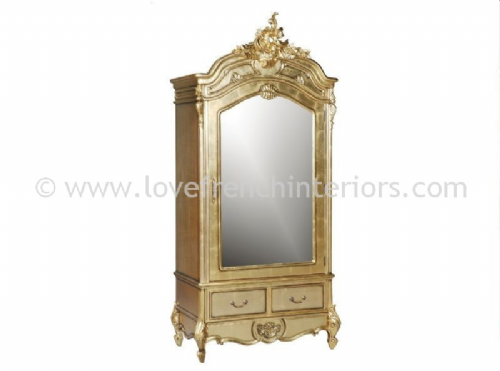 Louis Single Door Mirrored Armoire in Gold